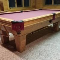 American Classic Oak 8' Slate Pool Table (SOLD)